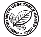 Seal with an image of a leaf and the words 'printed with vegetable-based inks'