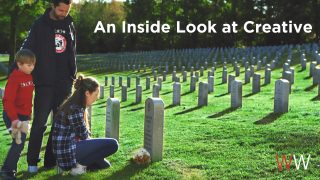 """Man, girl and little boy at a gravesite in a cemetary. The text laid over the image reads """"An inside look at creative."""""""