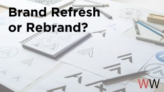 """Image of sketches of a logo with the text layed on top of the image that reads- """"Brand Refresh or Rebrand."""""""